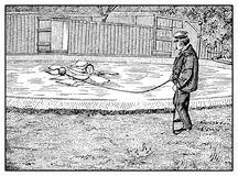 Helping people fallen on thin ice, old print. Vintage illustration, how to rescue a person fallen through thin ice by throwing him or her a wooden ball must Stock Photos