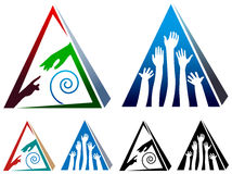 Helping pyramid. Isolated illustrated helping pyramid logo design set Stock Photography