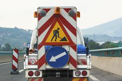 Helping safety truck on the road traffic sign highway Stock Images
