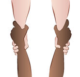 Helping Saving Hands Rescue Grip Interracial. Interracial cooperation - saving hands - rescue grip.  vector illustration on white background Royalty Free Stock Photos