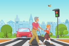 Helping senior old man. Little girl kid helps an old man to cross the road in city vector illustration. Helping senior old man. Little girl kid helps an old man stock illustration