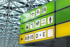 Helping signs at airport. Lot of airport sign berlin tegel airport Royalty Free Stock Image