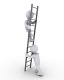 Helping to climb the ladder. 3d person is helping another to climb a grey ladder Royalty Free Stock Images