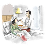 Helping to sick partner. A man is helping to his ill partner on bed stock illustration