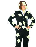 Helpless Businesswoman Full Of Empty Post It Royalty Free Stock Image