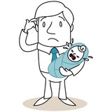 Helpless father with crying baby Royalty Free Stock Images