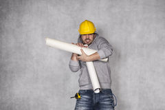 Helpless manual worker Royalty Free Stock Photos
