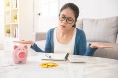 Helpless woman having financial problems Stock Photo