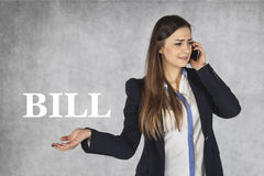 Helplessness when receiving phone bill Royalty Free Stock Images