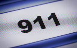 Helpline. 911 on the blue screen Royalty Free Stock Image