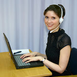Helpline employee stock image