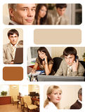 Helpline grid. Group of business people working together in the office. Image-grid of business photos Royalty Free Stock Images