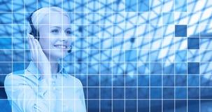 Helpline operator in headset over blue grid Stock Image