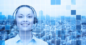 Helpline operator in headset over city background Royalty Free Stock Images