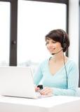 Helpline operator with laptop computer Stock Image