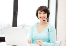 Helpline operator with laptop computer Stock Photography