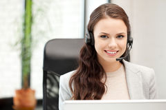 Helpline operator with laptop computer Royalty Free Stock Photography