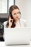 Helpline operator with laptop computer Stock Images