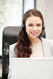 Helpline operator with laptop computer Royalty Free Stock Image