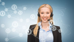 Helpline operator and virtual screen Stock Photography
