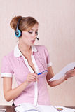 Helpline operator working with documents Stock Images