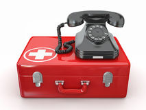 Helpline.Services. Phone on medical kit. 3d Royalty Free Stock Photography