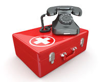 Helpline.Services. Phone on medical kit. 3d Stock Photography