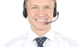 Helpline, Smiling Operator with Headphones stock image