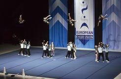 Helsínquia, Finlandia - 30 de junho de 2018: Team Dolphins Coed de Alemanha que executa nos campeonatos Cheerleading europeus 201 fotos de stock royalty free