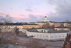 Helsínquia no crepúsculo foto de stock royalty free