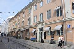 Helsínquia, o 23 de agosto de 2014 - opinião da rua de Helsínquia em Finlandia Fotos de Stock Royalty Free