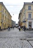 Helsínquia, o 23 de agosto de 2014 - opinião da rua de Helsínquia em Finlandia Fotografia de Stock Royalty Free