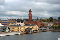 Helsingbog, Sweden - October 9, 2016: view of the city and the port on board the ferry to sail to Denmark. Stock Images