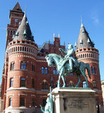 Helsingborg 23. An image of a statue outside the town hall from the city of Helsingborg in Sweden Stock Photos