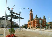 Helsingborg Citycenter met het Overweldigende Stadhuis, Zweden Stock Foto's
