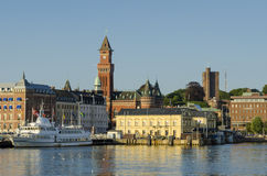 Helsingborg inner harbour and skyline Royalty Free Stock Photos