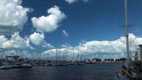 Helsingborg marina boats stock footage