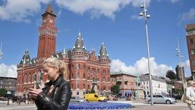 Helsingborg stad Hall Time Lapse arkivfilmer
