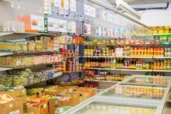 Helsingborg Sverige-September 3, 2012: Asiatiska produkter i supermarket Arkivbild