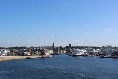 Helsingborg, Sweden. Arriving in the Harbor of Helsingborg, Sweden royalty free stock image