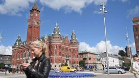 Helsingborg Town Hall Time Lapse stock footage