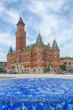 Helsingborg urząd miasta z fontanną Zdjęcia Royalty Free