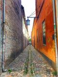 Helsinger smalle straat Stock Afbeelding
