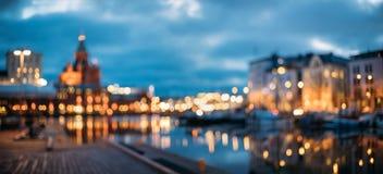 Helsingfors Finland Abstrakt suddig Bokeh stads- panorama- bakgrund royaltyfri bild