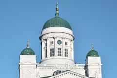 Helsingfors Finland - Februari 20, 2018: Helsingfors domkyrka royaltyfri foto