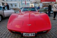 Helsingfors Finland gammal bil Chevrolet Corvette Royaltyfria Bilder