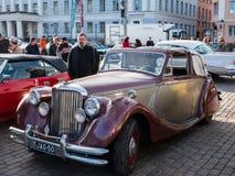 Helsingfors Finland gammal bil Jaguar Fotografering för Bildbyråer