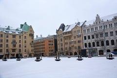 Helsingfors gator på tiden X-Mas arkivfoton