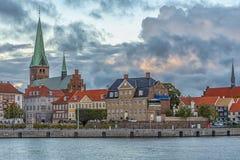 Helsingor λιμενική εικονική παράσταση πόλης Στοκ Φωτογραφία