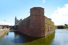 Helsingor Danmark - Juli 19, 2016: Kronborg slott av Hamlet i Danmark royaltyfria bilder